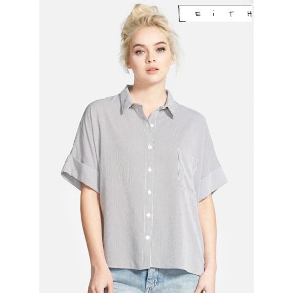 cb2a0d861228 Leith Tops | Oversized Button Shirt M Mini Stripes Hilow | Poshmark